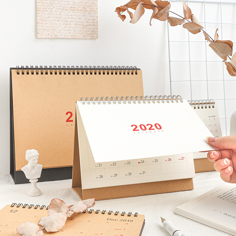 <font><b>2020</b></font> NEW Kawaii Cute 3 Size Solid Color Kfaft Calendar Coil Schedule Creative Desk Table Dates Reminder Timetable Planner sl2192 image