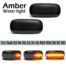 Car Dynamic Led Side Repeater Indicator Light Flowing Side Marker Signal Lamp Light For Audi A3 A4 A6 S3 S4 S6 RS4 RS6 B6 B7 B8 perfect white canbus error free led bulb interior dome map overhead light kit for audi a4 s4 rs4 b5 b6 b7 b8 1996 2015
