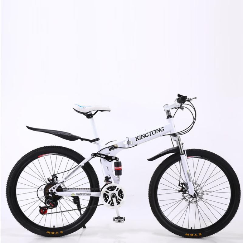 Foldable Bicycle 21 Speed speed Double disc brake Mountain Bike aluminum alloy frame adult student 24/26 inch Mountain Bicycle image