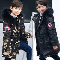 HSSCZL 2019 canard hiver garçons Camouflage doudoune moyenne longue enfants garçon manteau enfants naturel fourrure col vêtements d'extérieur à capuche 8-16Y