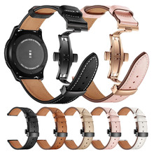 22mm Genuine Leather Wrist Strap for Samsung Gear S3 Frontier Huawei Xiaomi Amazfit Watch Band loop Replacement Classic Bracelet(China)