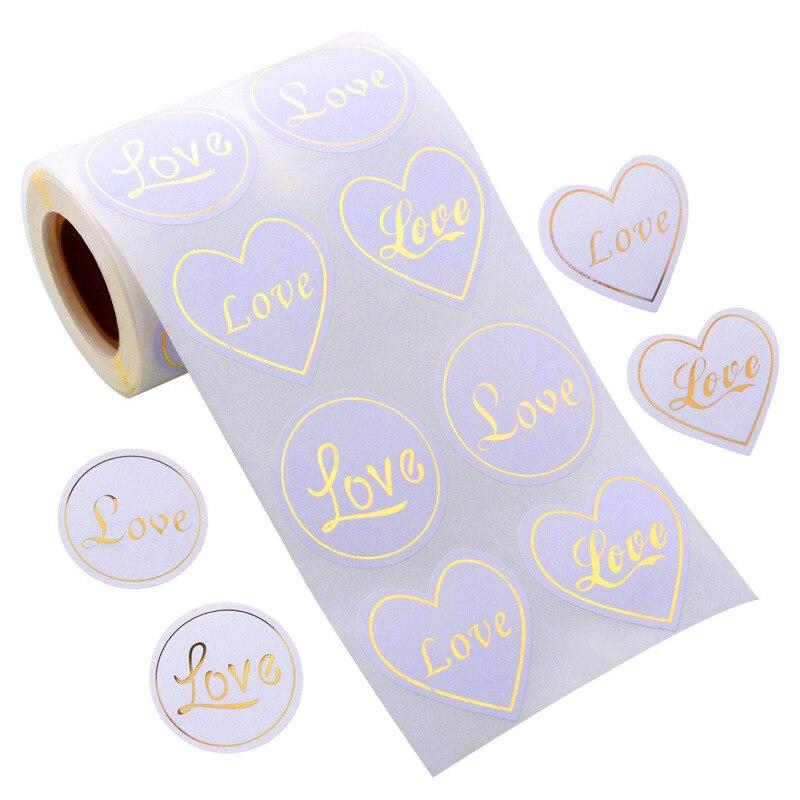 300 sztuk serca brązujący prezent miłosny pieczęć etykiety 4 czcionki samoprzylepne Kraft naklejka uszczelniająca do pieczenia naklejki do prac DIY papiernicze naklejki