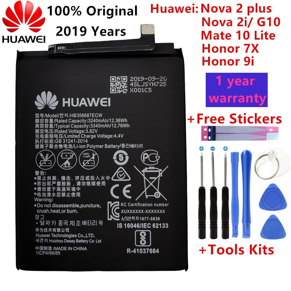 Hua Wei Original Real 3340mAh HB356687ECW For Huawei Nova 2 Plus/Nova 2i/ G10/Mate 10 Lite/ Honor 7x/Honor 9i Batteries+Tools