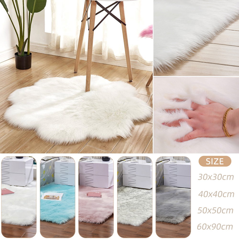 Artificial Sheepskin Fur Rug Acrylic Flower Soft Fluffy Carpet Bedroom Living Room Floor Furry Silky Plush Tapete 30/40/50/60cm