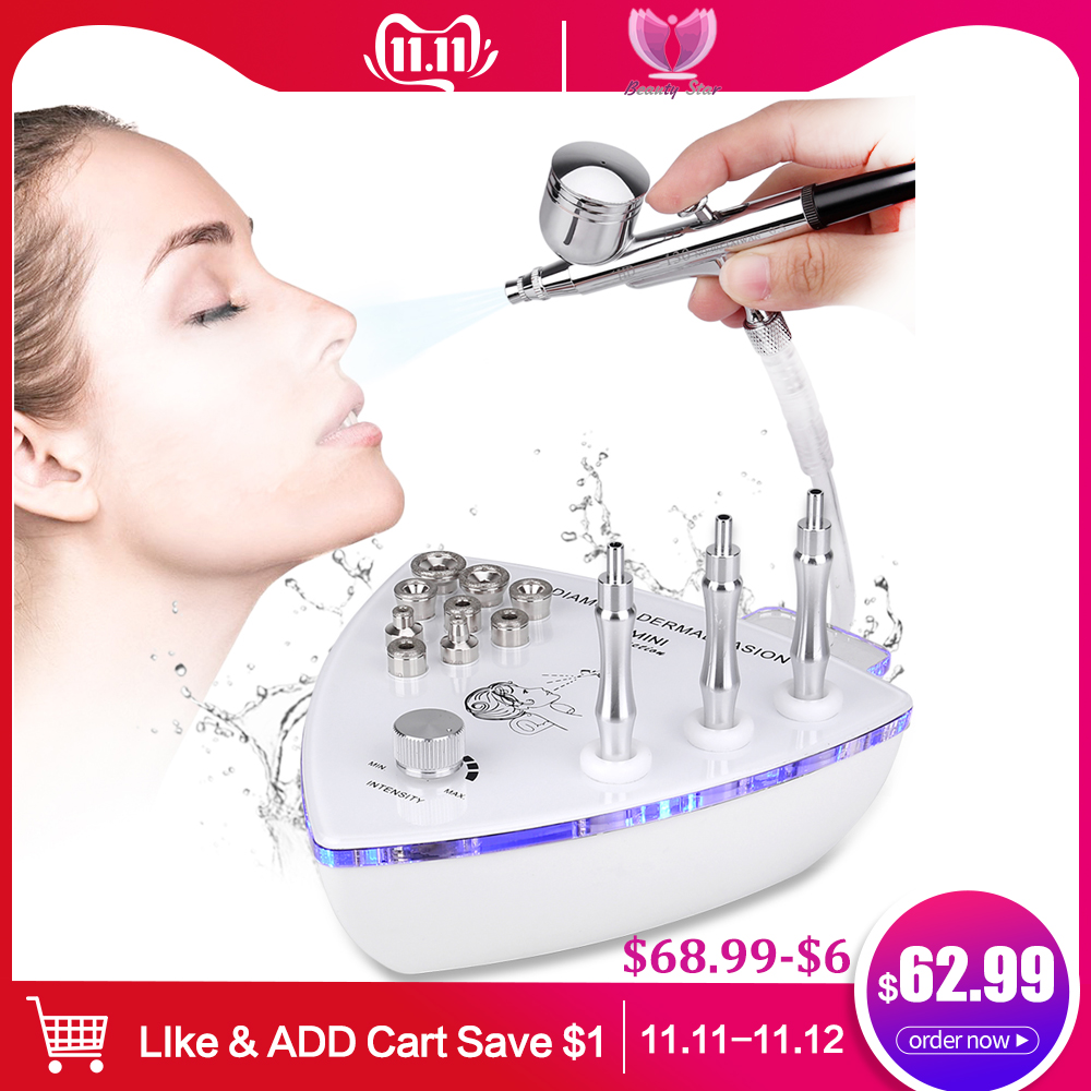 Beauty Star Diamond Microdermabrasion Dermabrasion Machine With Spray Gun Water Spray Vacuum Suction Exfoliation Facial Massage-in Microdermabrasion Peel Machine from Beauty & Health