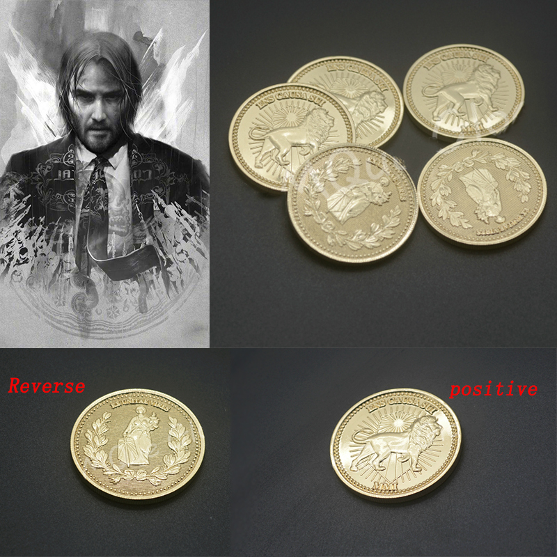 John Wick Keanu Charles Reeves Cosplay Coin Collect Gold Coins Hotel Du Continent Award Currency Alloy Props Velcro Armband
