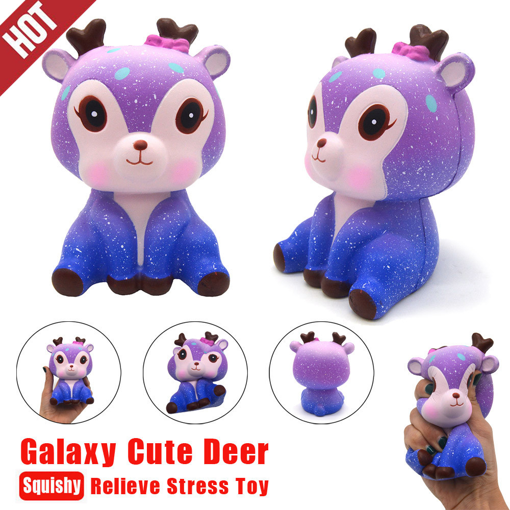 Galaxy Cute Kawaii Cartoon Deer Big Squishy Jumbo Toys Slow Rising Cream Scented Squeeze Toys Novelty Antistress Gift Toys L0711