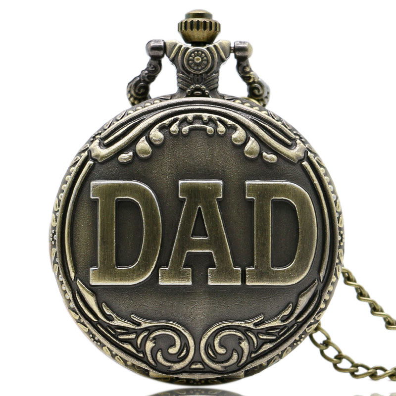 Antique DAD Pocket Watch Pendant Bronze Necklace Mens Happy Father's Day Gift Free Shipping