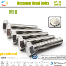 цена на SUS304 stainless steel hexagon head bolt German industrial standard DIN933 external hexagon screw metric thread diameter M10