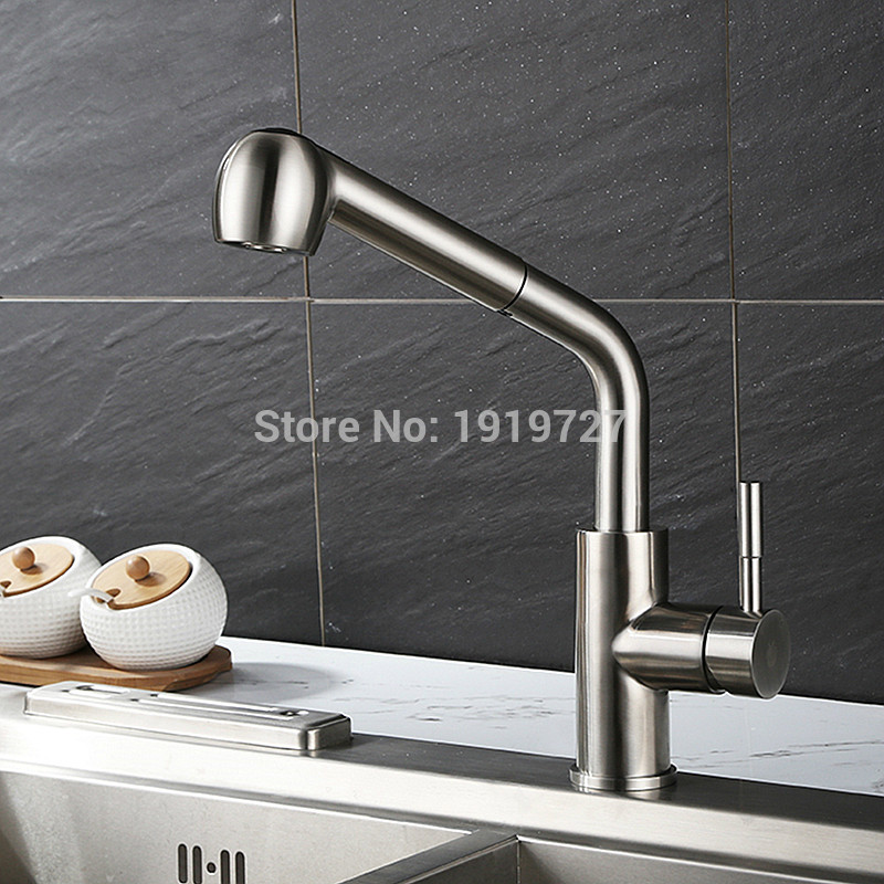 Vidric 100% Solid Brass Construction Spout 360 Rotating Swivel Spout Single Hole Reflex Pull Out Kitchen Faucet With Pullout Spr