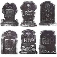 Wholesale 1 pcs Halloween Foam Tombstone Skeleton Haunted House Stone Grisly Props Party Decor Yard Random Style