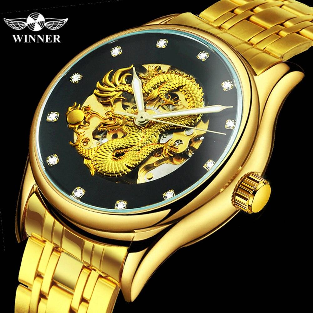 Mens Watches Clock Mechanical-Watch Couple Dragon-Skeleton WINNER Automatic Luxury Golden
