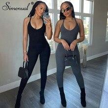 Simenual Backless w kratkę Casual długie kombinezony dla kobiet pasek lato Athleisure Streetwear sportowy pajacyki letni kombinezon