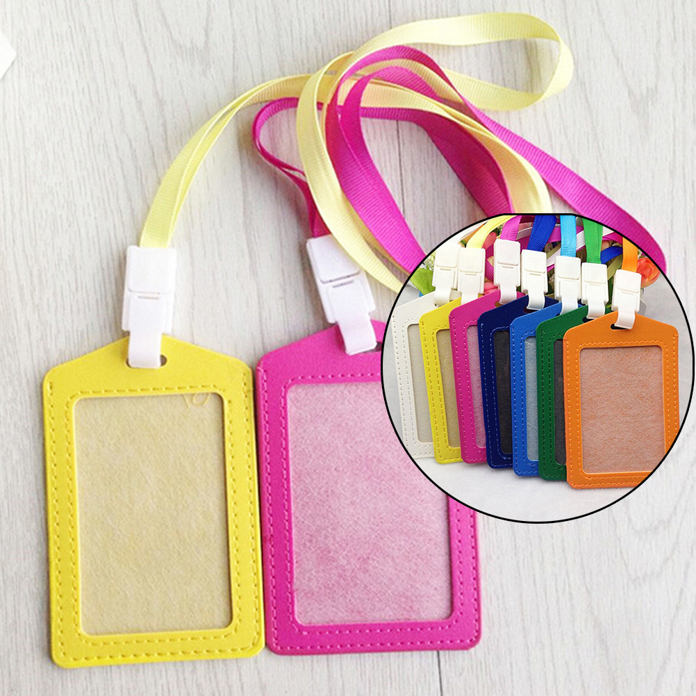 1PCS PU Bank Card Neck Strap Card Bus ID Holders Identity Badge With Lanyard Candy Colors Women Men Name Credit Card Holders