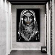 Arte africana mulher negra pintura da lona cuadros cartazes e cópias escandinavo arte da parede imagem para sala de estar decoração casa