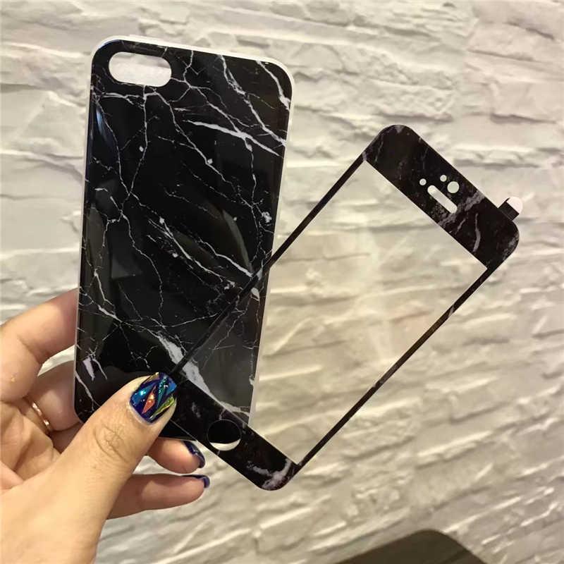 Для IPhone 7 7Plus мраморные чехлы для телефонов + Защитная пленка для экрана Coque для I Phone X 6 S 6 S 7 8 Plus силиконовый чехол из ТПУ