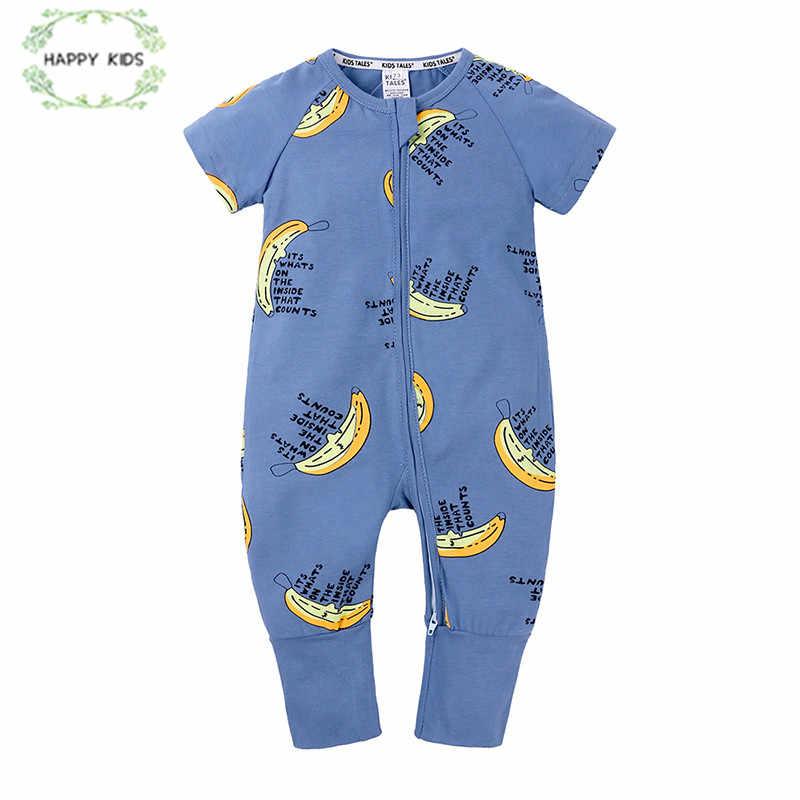 Musim Panas Bayi Boy Pakaian Infantil Rompers Lengan Pendek Jumpsuit Katun Bayi Pisang Kartun Ritsleting untuk Bayi Laki-laki DLY541