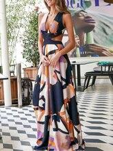2019 Autumn Women Elegant Sexy Boho Vacation Long Party Dress Female Leisure V-Neck Dress Plunge Print Cutout Waist Maxi Dress aztec print plunge backless shift dress
