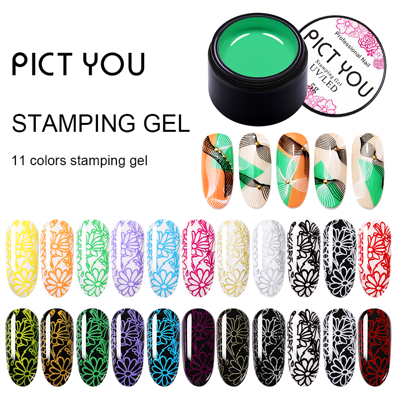 PICT YOU 5ml Stamping Gel Nail Polish Set Semi Permanent Vernis Paint Gel With Top Coat UV LED Gel Varnish Soak Off Gel Nails