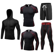 2019 New Running Sets 5pcs/sets Compression Crossfit Sportswear Basketball Training Tights Gym Fitness Jogging Sport Suits