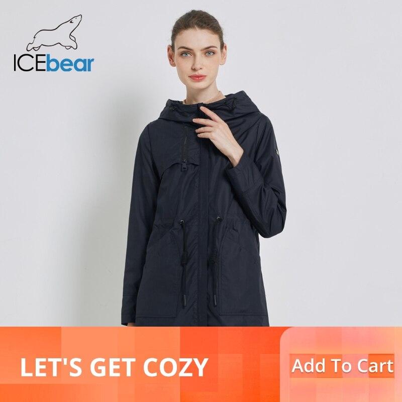 ICEbear 2019 Autunno delle nuove donne giacca a vento con cappuccio cappotto di trincea delle donne delle donne casuali abbigliamento lungo allentato abbigliamento GWF19023I-in Trench da Abbigliamento da donna su  Gruppo 1