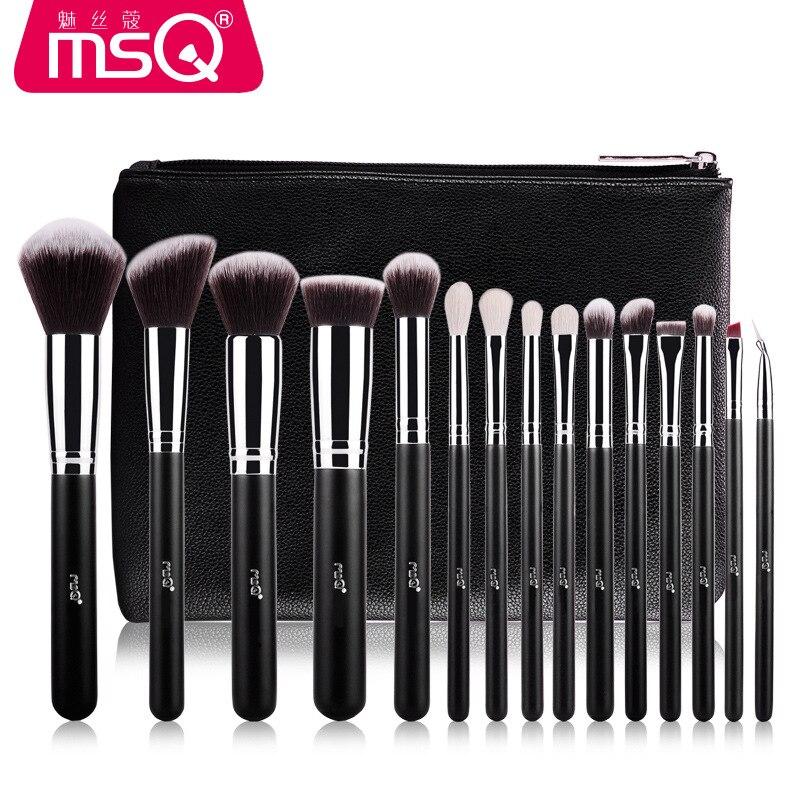 MSQ/кистей для макияжа Набор 15 розово золотых кисточек для макияжа, профессия шерстяной комплект кисть для теней Хуа Чжуан шуа, носки для малышей