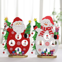 2019 Christmas  Wooden Santa Claus Scene Decorations Gifts Ornaments Snowman Dolls