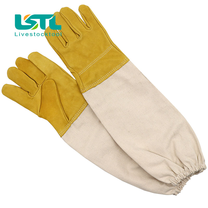 1 Pair Beekeeping Gloves Protective Sleeves Ventilated Professional Sheepskin Canvas Anti Bee For Apiculture  Beekeeping Gloves