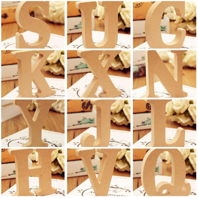 Freestanding A-Z Wood DIY Wooden Letters Alphabet Hanging Wedding Birthday Home Party Decor Design Decorations Arts Crafts 5