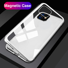 Magnetic Adsorption Phone Case For iphone 11 Pro Case 3D Flip Metal Frame Hard Back Cover For aiphone 11 Pro Max iphone11 Magnet(China)
