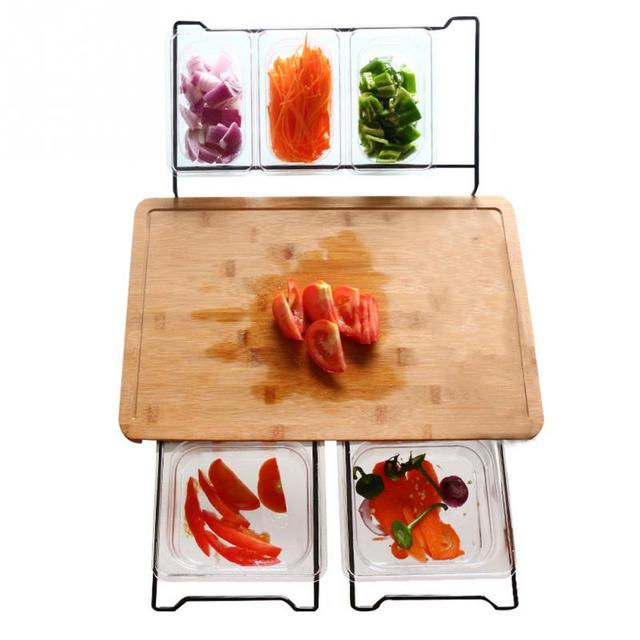 Vegetable Kitchen Cutting Board With Smooth Storage Box Multifunction Convenient Fruit Bamboo Food Storage