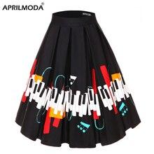 4XL kwiatowy muzyka drukuj 50s 60s Plus rozmiar spódnice w stylu Swing w stylu Retro z wysokim stanem plisowana Rockabilly w stylu Vintage Jurken kobiety odzież 2020