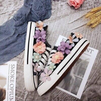 Baskets plates avec chaussures en toile chaussures décontractées pour femmes à la main personnalisé stéréo paillettes fleurs plates chaussures vulcanisées