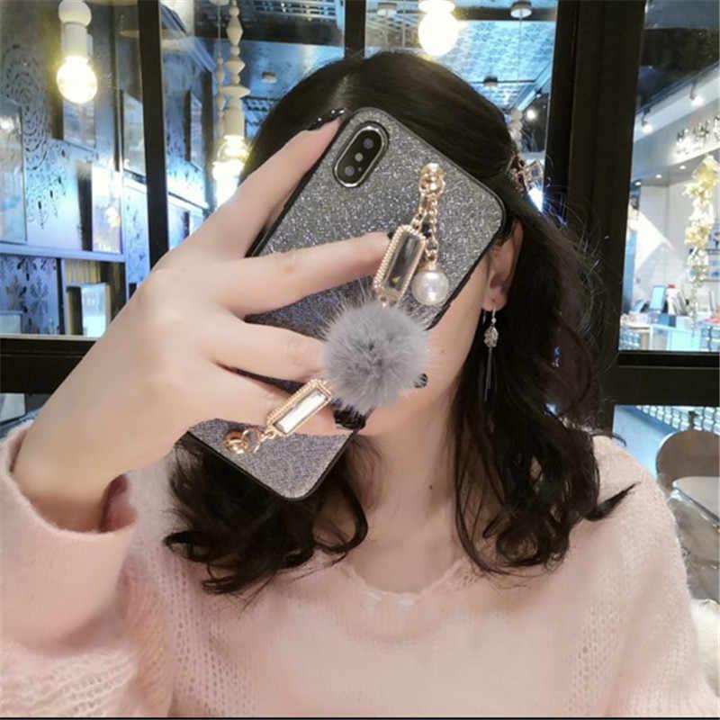 עבור Samsung S10 בתוספת מקרה S10e נצנצים יוקרה בלינג יהלומי פנינה צמיד שרשרת ציצית שועל פרווה כדור כיסוי עבור סמסונג s8 S9 בתוספת