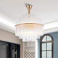 Luxury Cristal Chandeliers Living room Rod Crystal Hanging Lamp Polished Gold Circle Stand Lustre Indoor Lighting