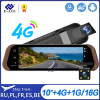 E ACE D06 Android 5.1 GPS Car Dvr 10 Inch Stream Rear view Mirror 4G Video Recorder Auto Registrar 1080P GPS Navigator Dash Cam