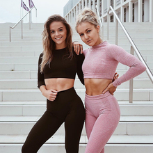 Winter Vital seamless 2 piece yoga set workout clothes for women fitness gym clothing vital long sleeve crop top