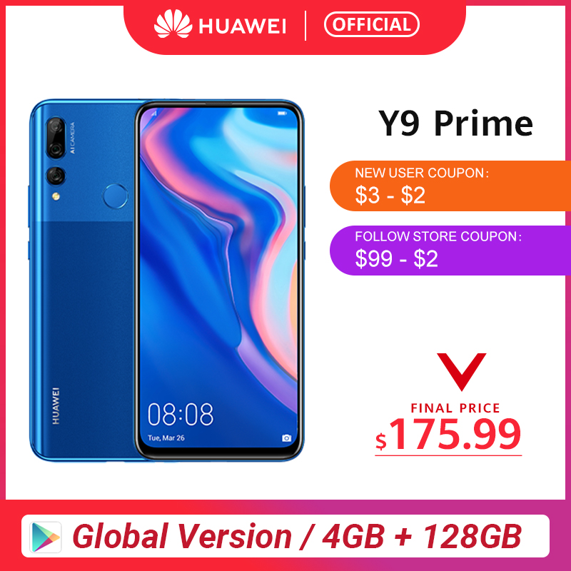 "Original Huawei Y9 Prime 2019 Smartphone AI Triple Rear Cameras Global Version Cellphone 4G 128G Auto Pop-Up Front Camera 6.59"""