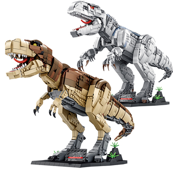 in stock 2133 pcs lepin 15002 cafe corner 15019 4002pcs assembly square model building kits toys moc legoinglys 102555 10182 Lepin Building Blocks Large Animal Tyrannosaurus Rex Assembly Model Creative Accessories Children's Toys New Year Gift Sticker