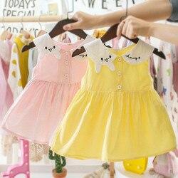 Vestidos da menina do bebê estilo ocidental infantil vestido de princesa coelho colarinho bonito da criança vestido para 3 6 9 12 24 meses 2 3 anos de idade