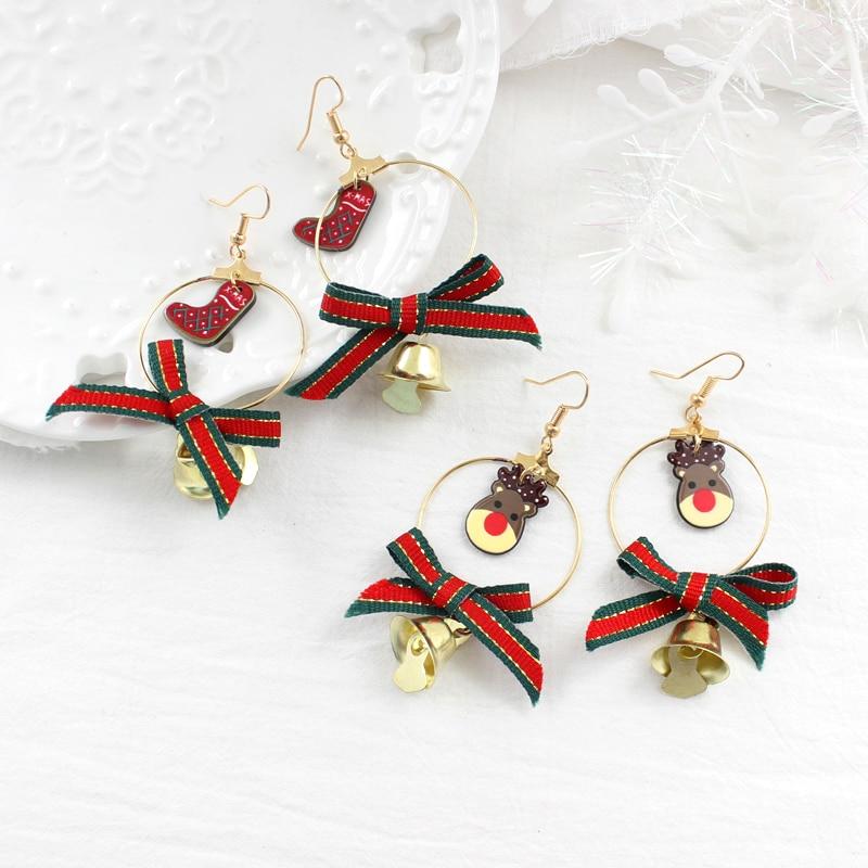 Каваи серьги с Санта Клаусом Grand Circle Bowknot золотые колокольчики Рождественские