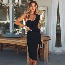 新クラブの摩耗フリルワンショルダーブラックドレスボディコンセレブパーティードレス セクシーな包帯ドレス女性 2020 vestidos