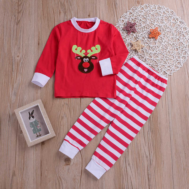 2019 Xmas bebé recién nacido niños niñas ropa Navidad Camiseta de manga larga rayas pantalones largos conjuntos rojo general infantil pijamas