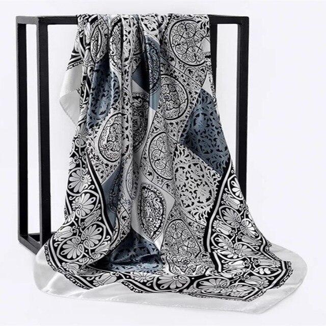 Весна лето квадратный шелковый шейный шарф женские шарфы шейный платок для офиса Дамская шаль Бандана 90 см мусульманский хиджаб платок из фуляра глушитель