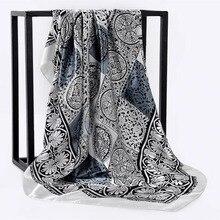Primavera verão quadrado lenço de seda pescoço feminino cachecóis pescoço escritório senhoras xale bandanna 90cm muçulmano hijab kerchief foulard silenciador