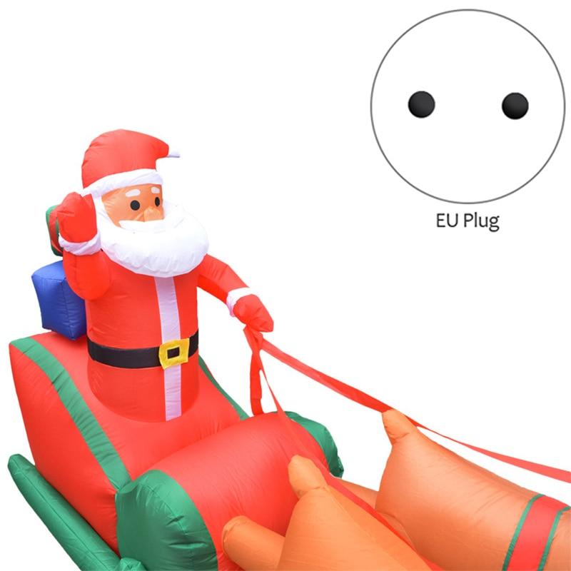 Eu Plug Kerst Opblaasbare Herten Winkelwagen Kerst Dubbele Herten Winkelwagen Kerstman Kerst Dress Up Decoraties Welkom Rekwisieten - 2