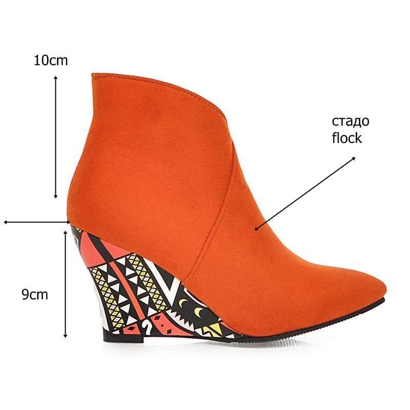 EGONERY punk kadın yarım çizmeler sivri burun kama yüksek topuklu kadın ayakkabısı Seksi mor orange yeşil çizgi film baskı sonbahar patik
