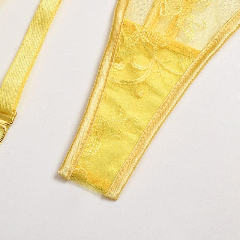 3 Pc Lace Floral Bra + Panties Set Lingerie