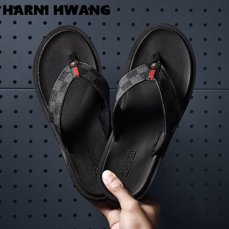 2021 hot summer flip flops men's personality outer wear beach shoes summer outdoor couple slippers men trendy sandals size 39-46