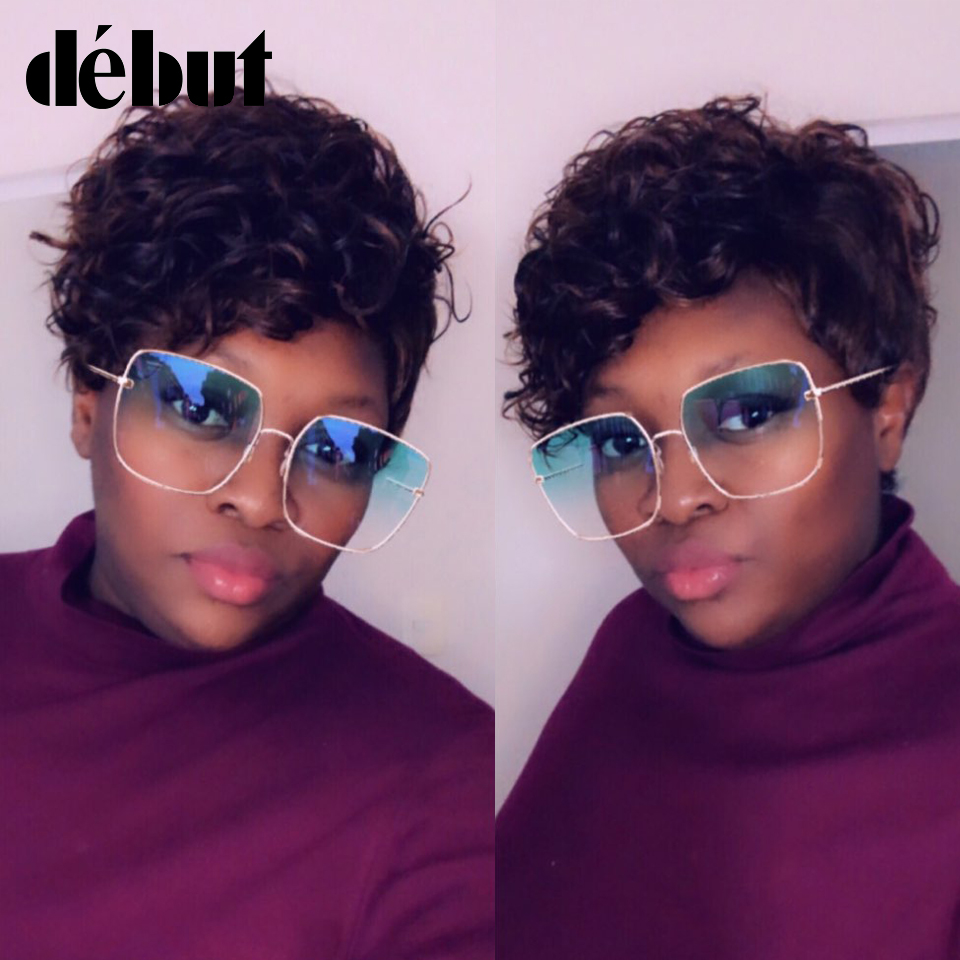 Debut Hair Wigs For Black Women Indian Wet And Wavy Wig 100% Human Hair Wigs Short Kinky Curly Wigs Color Brown Free Shipping